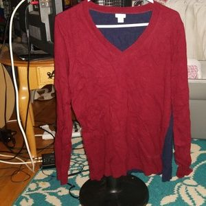 Barely worn v neck maroon and navy blue sweater